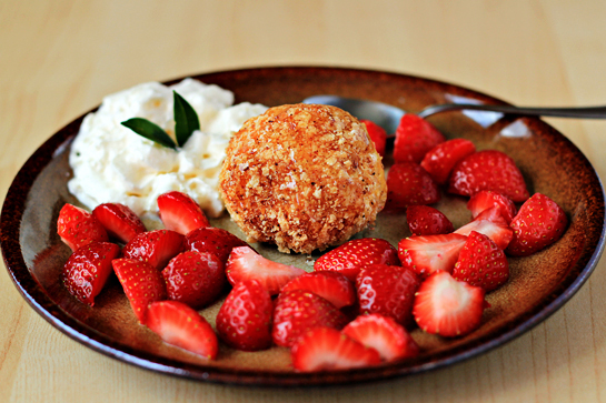 fried ice cream recipe with step by step pictures, drizzle each scoop with one teaspoon honey and serve immediately, instead of honey, you can drizzle with any topping you like - toffee, chocolate, fruit