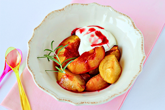 roasted summer fruit with rosemary and cream recipe with step by step pictures