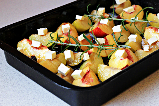 roasted summer fruit with rosemary and cream recipe with step by step pictures, roast at 400 F - 200 C for about 15-20 minutes