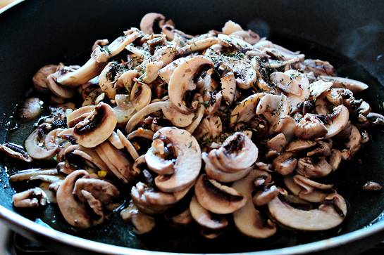 chicken with mushrooms and cheese step by step recipe with ingredients and pictures, cooking mushrooms in large oiled frying pan