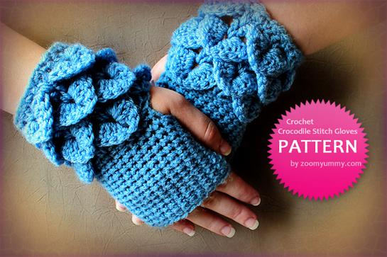 crochet crocodile stitch fingerless gloves pattern by zoomyummy.com