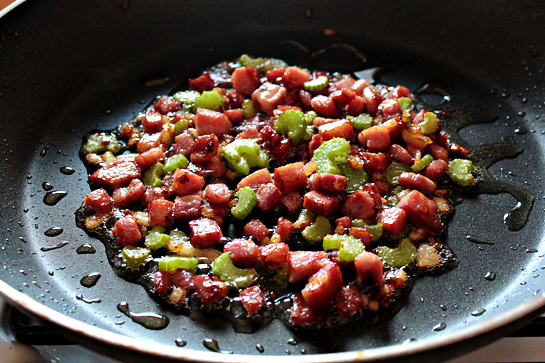 Pasta With Bacon And Tomato Sauce step by step recipe with pictures, bacon, celery in a frying pan