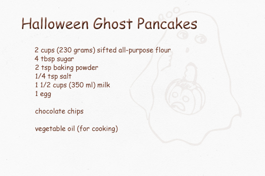 halloween ghost shaped pancakes step by step picture recipe ingredients