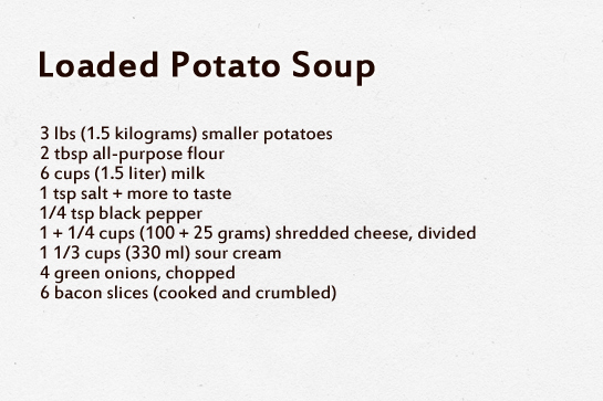 Loaded potato soup step by step recipe with pictures. Ingredients.