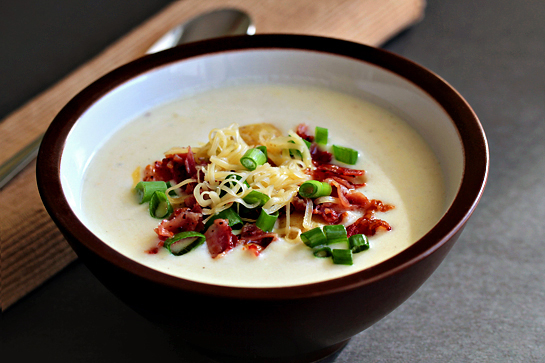 Loaded potato soup step by step recipe with pict
