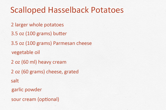 Scalloped hasselback potatoes step by step picture recipe. Ingredients.
