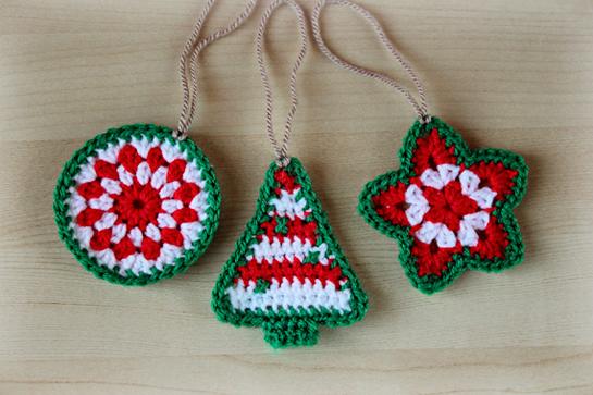 crochet Christmas ornaments star tree circle patter pdf tutorial