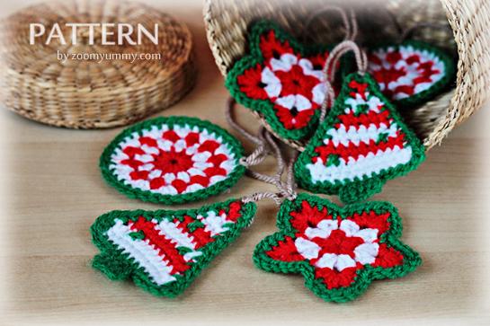 crochet Christmas ornaments pattern circle star tree