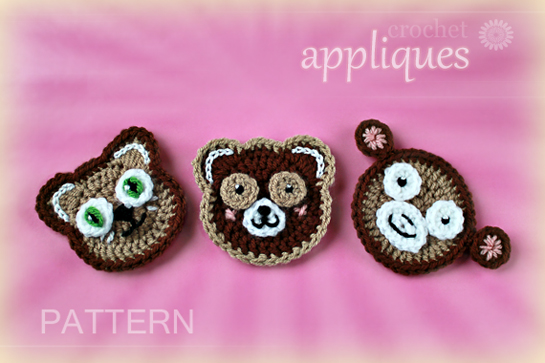 crochet toy animal faces - cat, teddy bear, monkey - appliques, ornaments, garland
