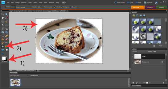 how to add white blurred border to an image in Photoshop, white vignette, how to change foreground and background colors in Photoshop, how to swith foreground and background colors in Photoshop, how to use Pain Bucket Tool