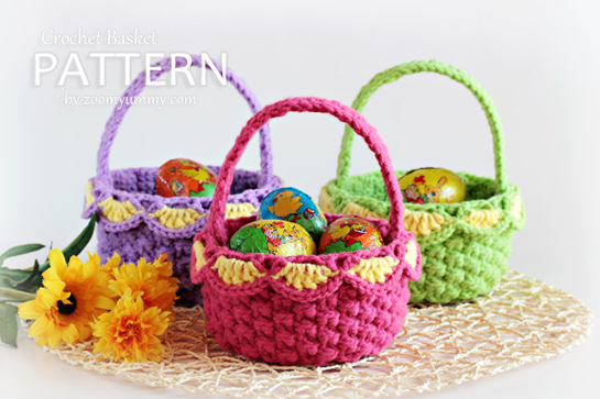 New Pattern ~ Crochet Baskets ? Pattern ? Zoom Yummy - Crochet ...