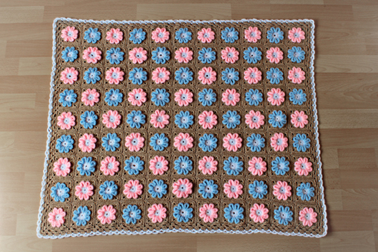 New Pattern ~ Crochet 3D Flower Baby Blanket Pattern ...
