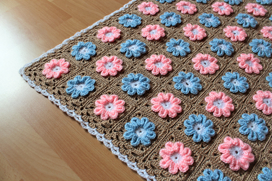 Crochet Flower Pattern Blanket : New Pattern ~ Crochet 3D Flower Baby Blanket Pattern ...