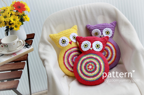 Free Crochet Owl Cushion Pillow Pattern : New Pattern ~ Crochet Owl Cushions Crochet Zoom Yummy ...