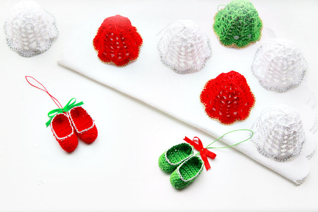 Free Crochet Patterns For Mini Christmas Ornaments : Mini Crochet Slippers?and a free pattern too Crafts ...