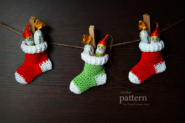 New Pattern Crochet Christmas Stocking Ornaments Zoom Yummy Food Photography