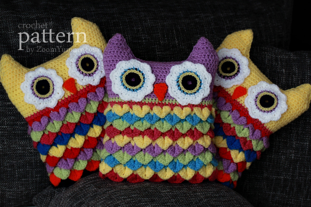 Free Crochet Owl Cushion Pillow Pattern : New Pattern ? Crochet Owl Cushion With Colorful Feathers ...