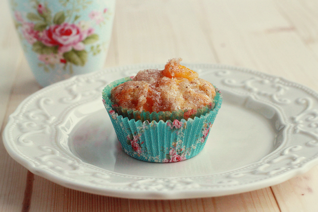 peach and cinnamom muffins in shabby chic muffin blue floral victorian liners