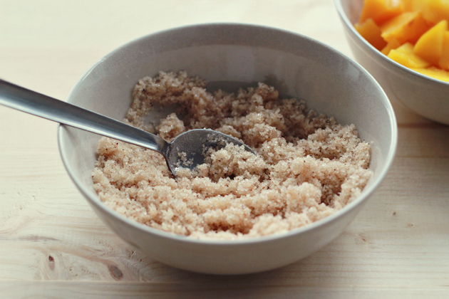 sugar, flower, cinnamon and oil streusel topping in a bowl for peach cobbler muffins