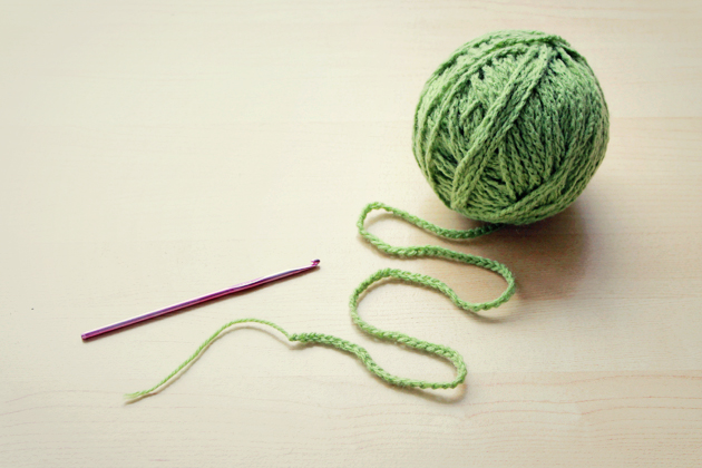 knitting with chain of crochet stitches