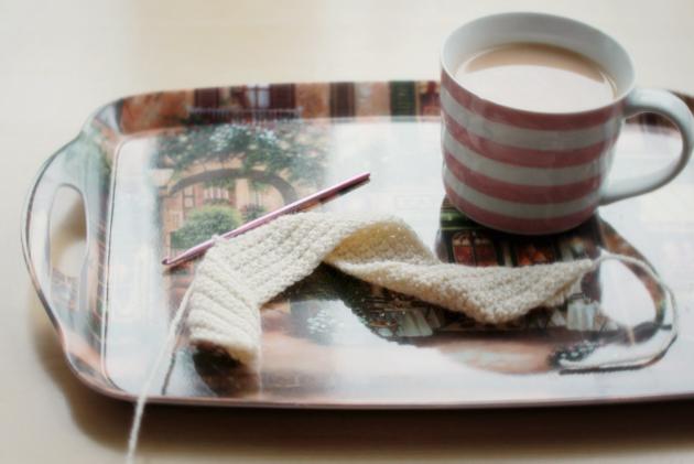 crochet and tea on a tray
