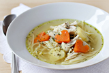 simple chicken soup with carrot hearts