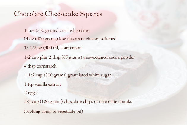 chocolate cheesecake squares ingredients