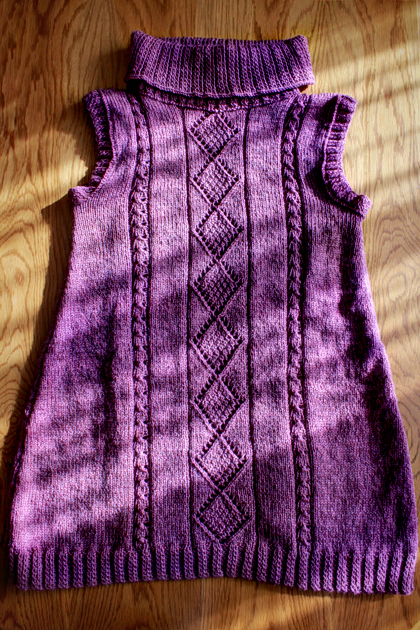 purple long knitted vest