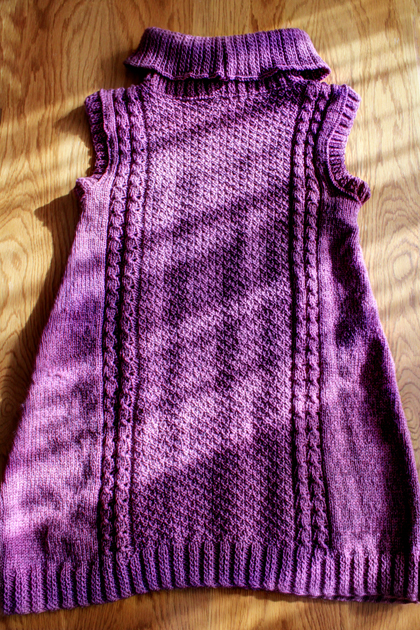 purple long knitted vest back side