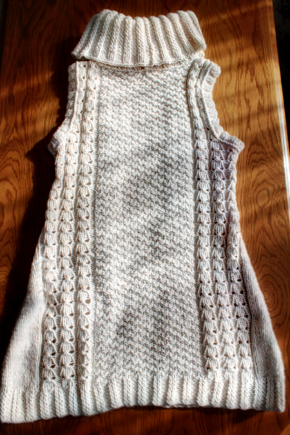 white long knitted vest back side