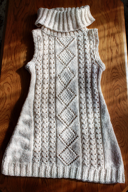 white long knitted vest front side