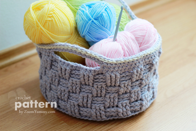 crochet pattern big crochet basket from zoomyummy grey