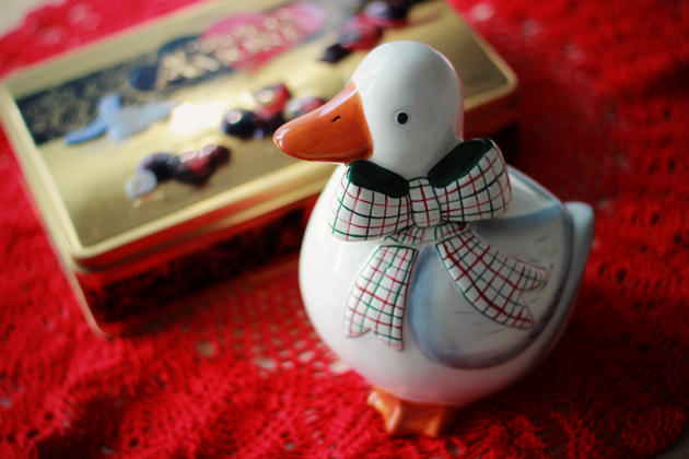 duck cookie jar and chocolate box