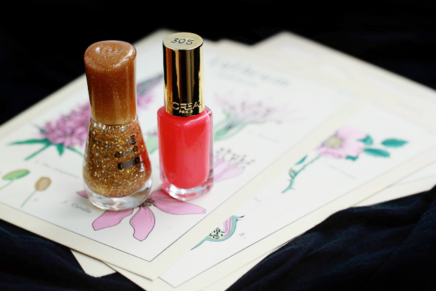 salmon pink and golden glitter nail polish