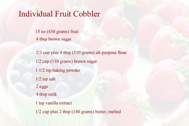 individual fruit cobblers recipe - ingredients