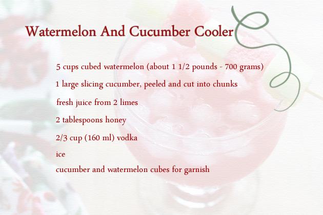 watermelon and cucumber cooler - recipe