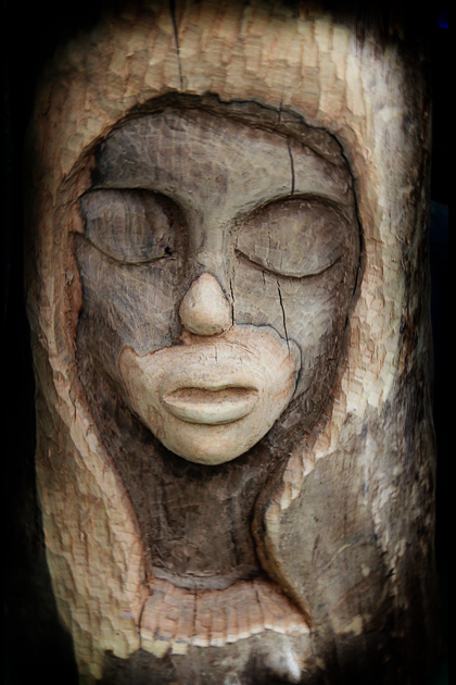 wooden statue woman