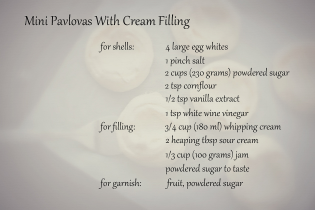 mini pavlovas ingredients