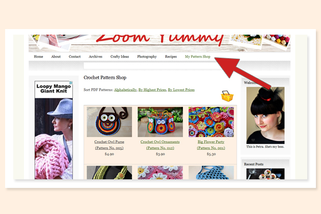 crochet pattern shop on zoomyummy.com