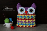 Crochet Owl Cushion With Colorful Feathers Pattern