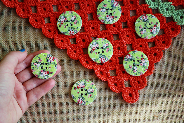 big green shabby chic floral buttons