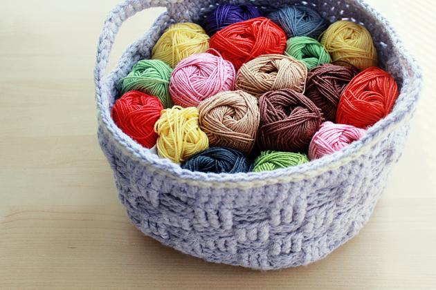 crochet basket full of yarn