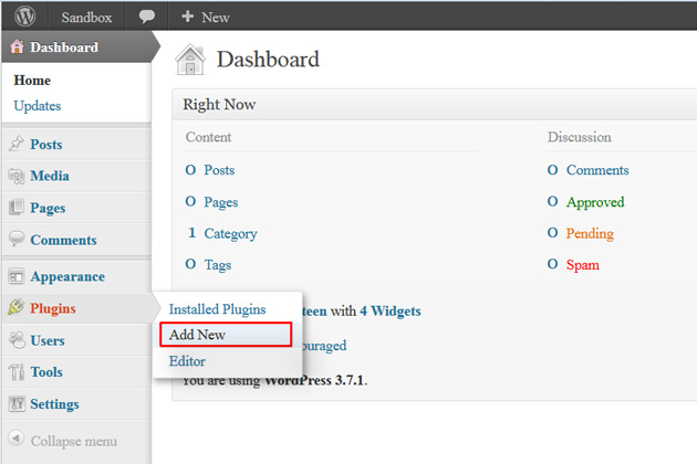wordpress dashboard plugins add new