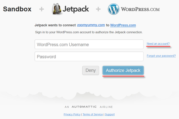 wordpress authorize jetpack
