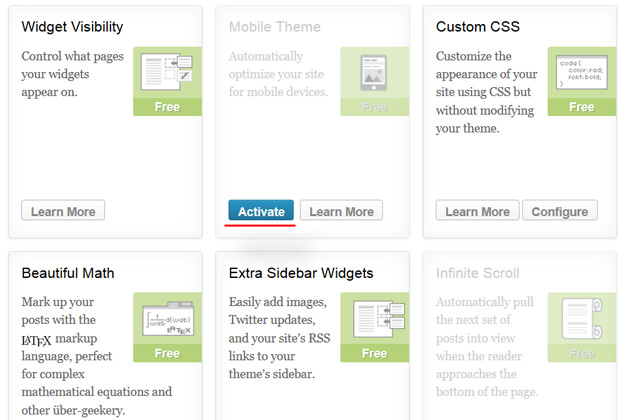 wordpress dashboard jetpack plugin activate mobile theme