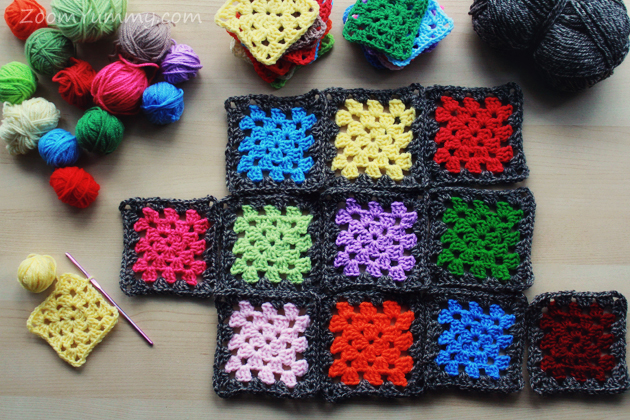 colorful granny squares with dark border