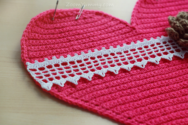 crochet heart cushion