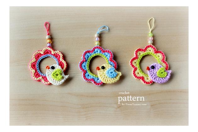 crochet Easter wreath with bird  pattern