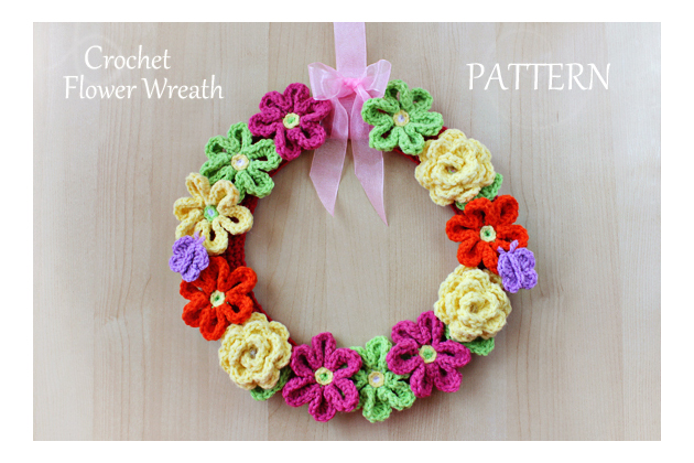 crochet flower wreath pattern