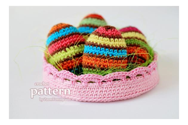 crochet Easter eggs in a bowl pattern